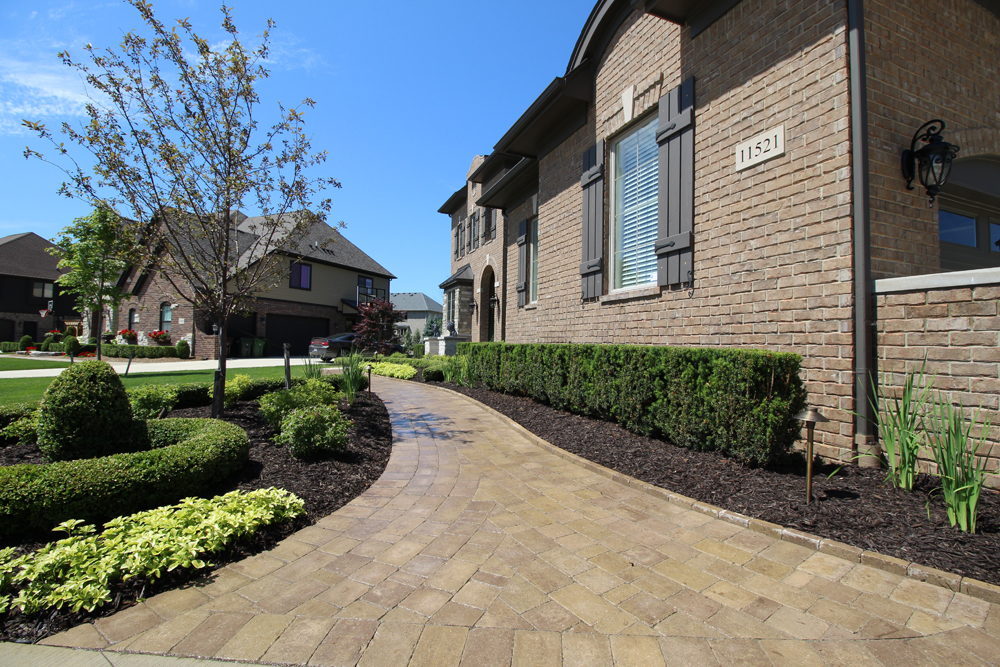 Landscaped Brick Paver Walkway In Shelby Township Michigan