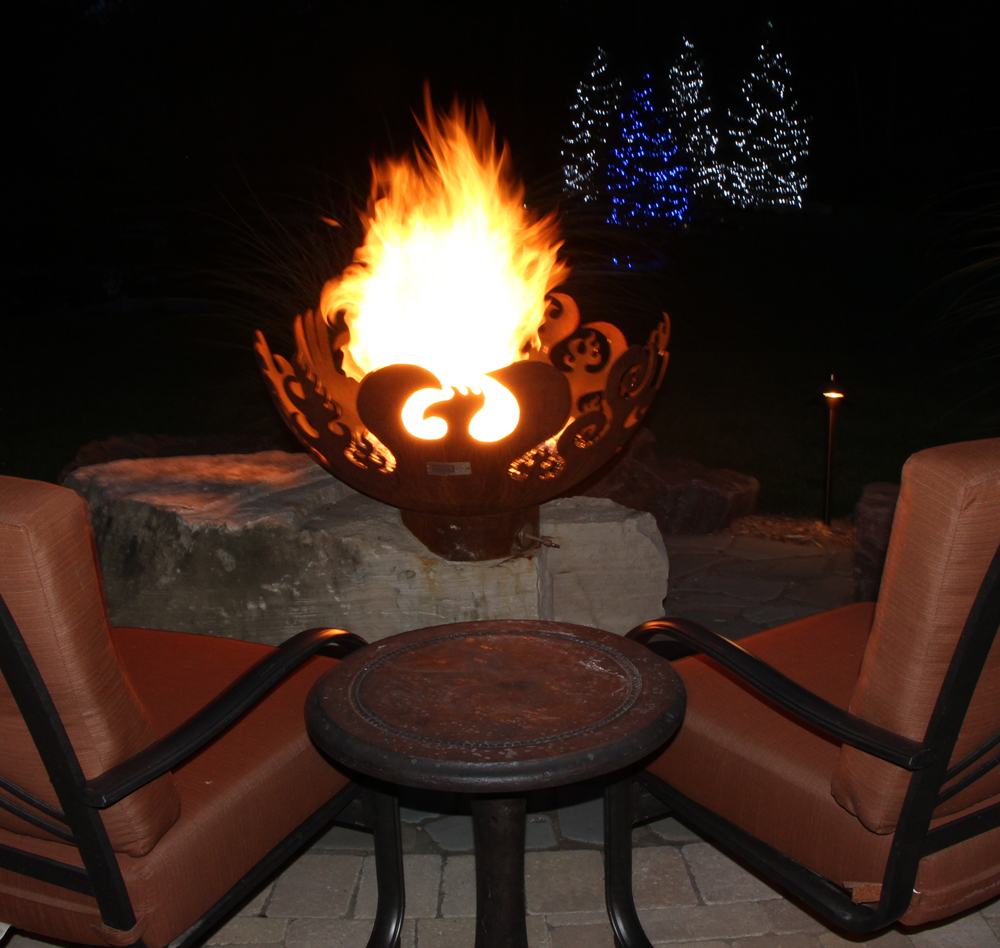 Night Time Fire Bowl Fire Feature In Oakland Township Mi